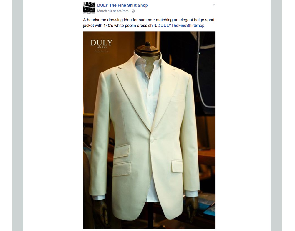 Duly: A handsome dressing idea for summer: matching and elegant beige sport jacket with 140's white poplin dress shirt.