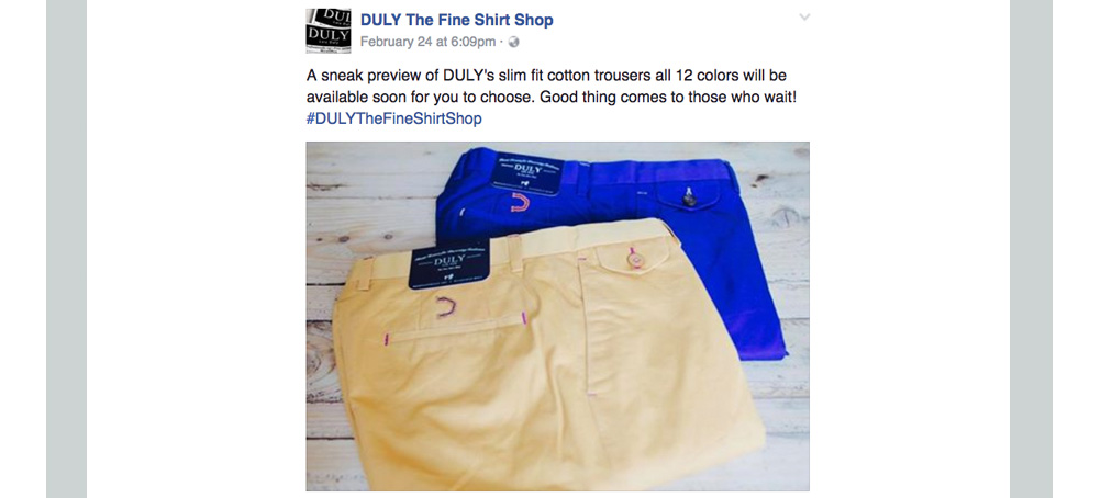 Duly: A sneak preview of DULY's slim fit cotton trousers all 12 colors will be available soon for you to choose. Good thing comes to those who wait!