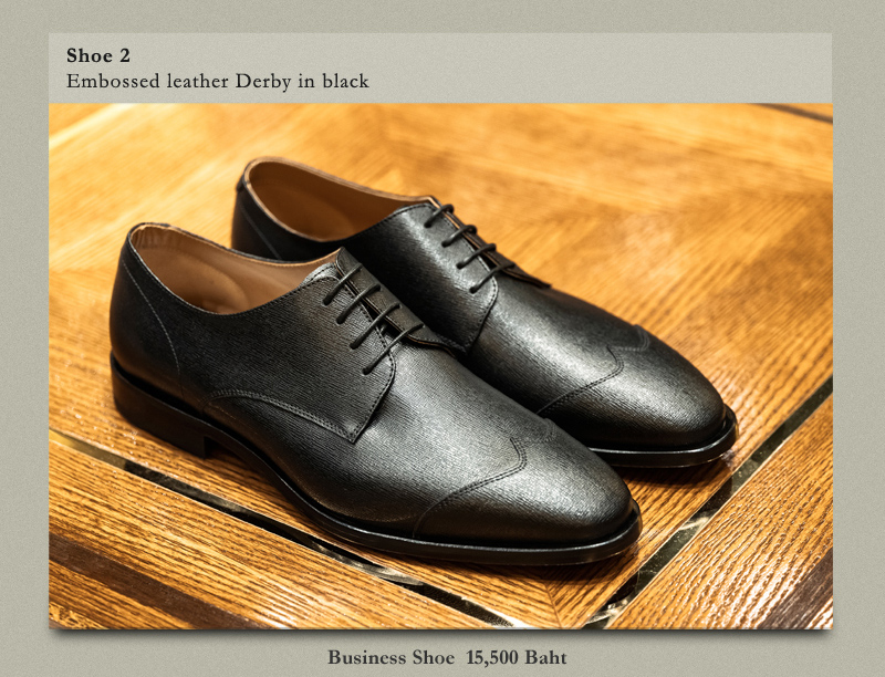 Shoe 2 Embossed leather Derby in black