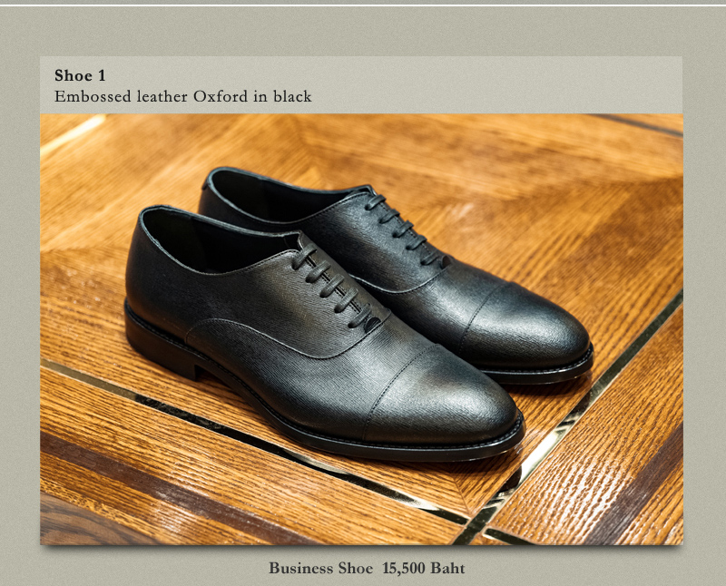 Shoe 1 Embossed leather Oxford in black